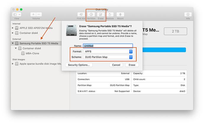 APFS Format on a Samsung T5 SSD - Hardware - MPU Talk