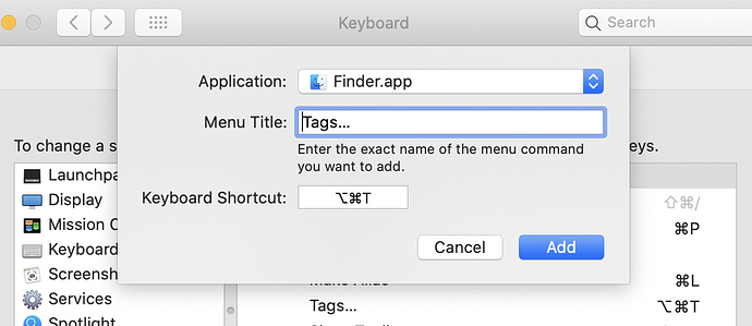 Screen Shot of setting keyboard shortcut for tagging in Finder