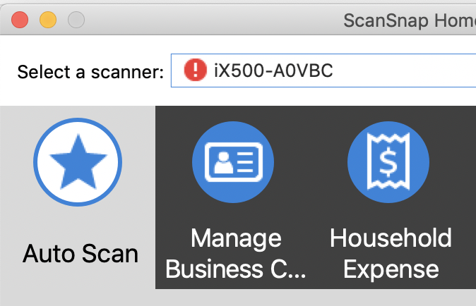 ScanSnap Home and iX500 - fails to connect to wifi (when